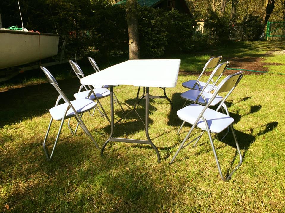 stół cateringowy partido krzesła biały